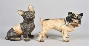 (2) Cast Iron Bulldog Doorstop and Bank
