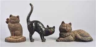 (3) Cast Iron Cat Doorstops