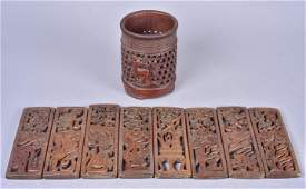 (9) Pcs Chinese Carved Wood