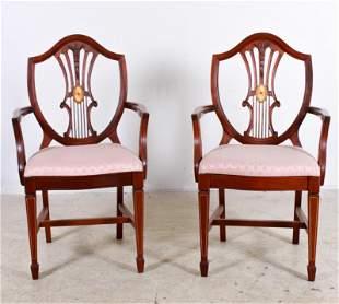 Pr Inlaid Mahogany Hepplewhite Style Armchairs