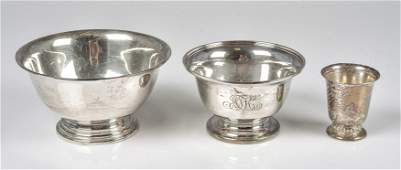 (3) Sterling Bowls and Shot