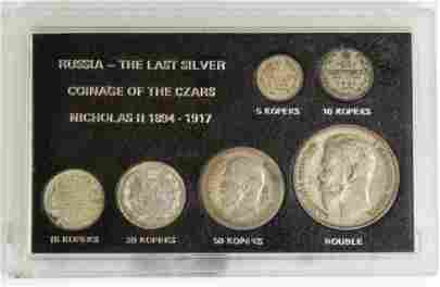 7 Pc Coin Set, The Last Silver Coinage of the Czars