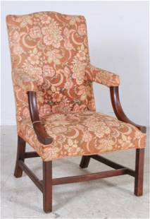 Mahogany Chippendale open armchair