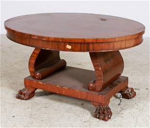 Mahogany Empire style oval cocktail table
