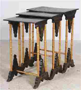Nest of (3) lacquered bamboo occasional tables