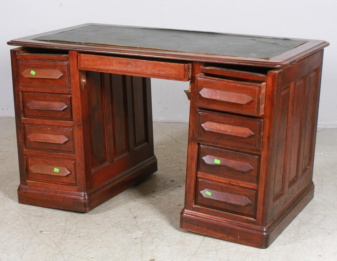 Victorian cherry flat top desk