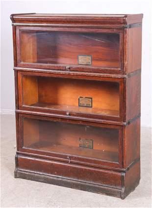 3-section oak bookcase by Globe Wernicke