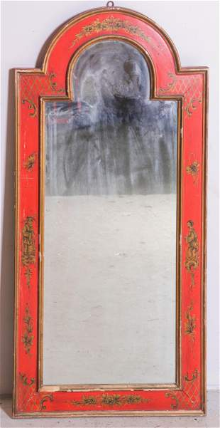 Paint decorated dome topped wall mirror