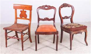 Pair carved walnut hairpin chairs, Federal side chair