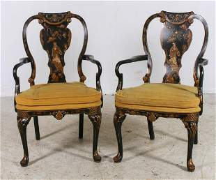 Pair Chinoiserie paint decorated armchairs