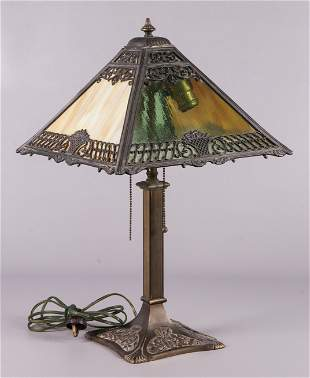 Art Deco Stained Glass Table Lamp