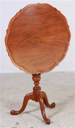 Mahogany Chippendale Style Pie Crust Tilt Top Table
