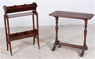 Mahogany inlaid magazine rack, mahogany French style