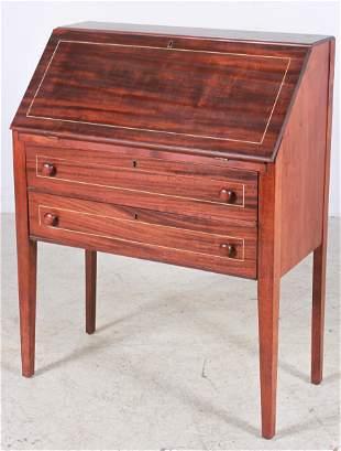 Mahogany inlaid slant front desk