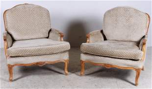 Pair Oversized Louis XV style upholstered lounge chairs