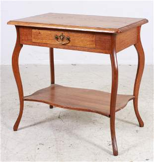 Oak Library Table with Drawer