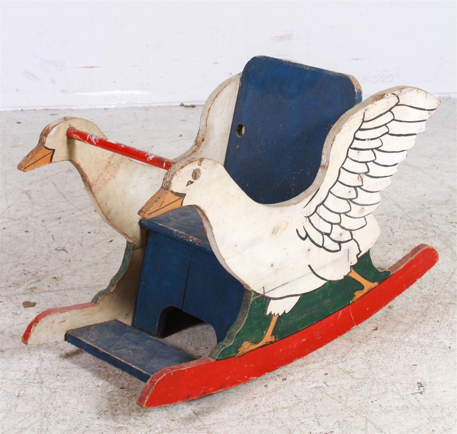 Painted Wood Goose Child's Rocker