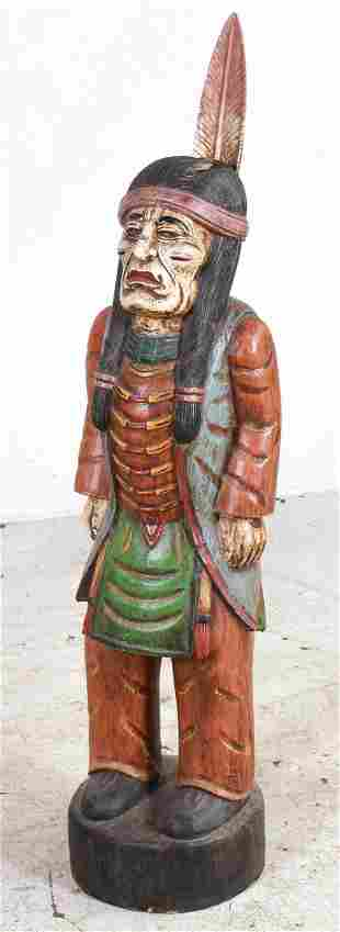 Carved & Painted Wood Native American Figure