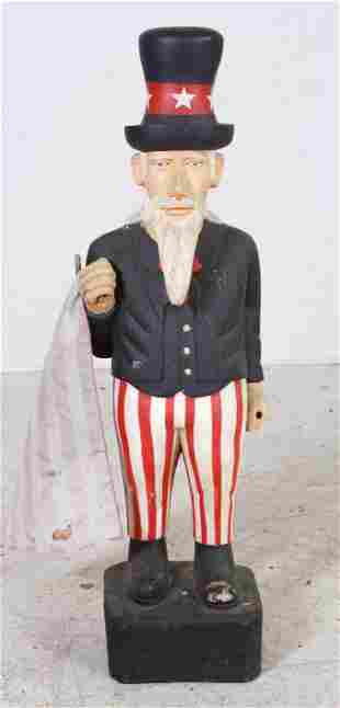 Carved & Painted Wood Uncle Sam Figure