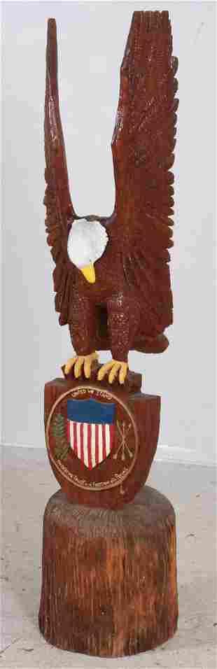 Carved & Painted Wood American Eagle Figure