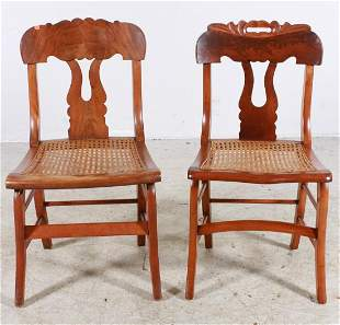 Pair Walnut caned side chairs