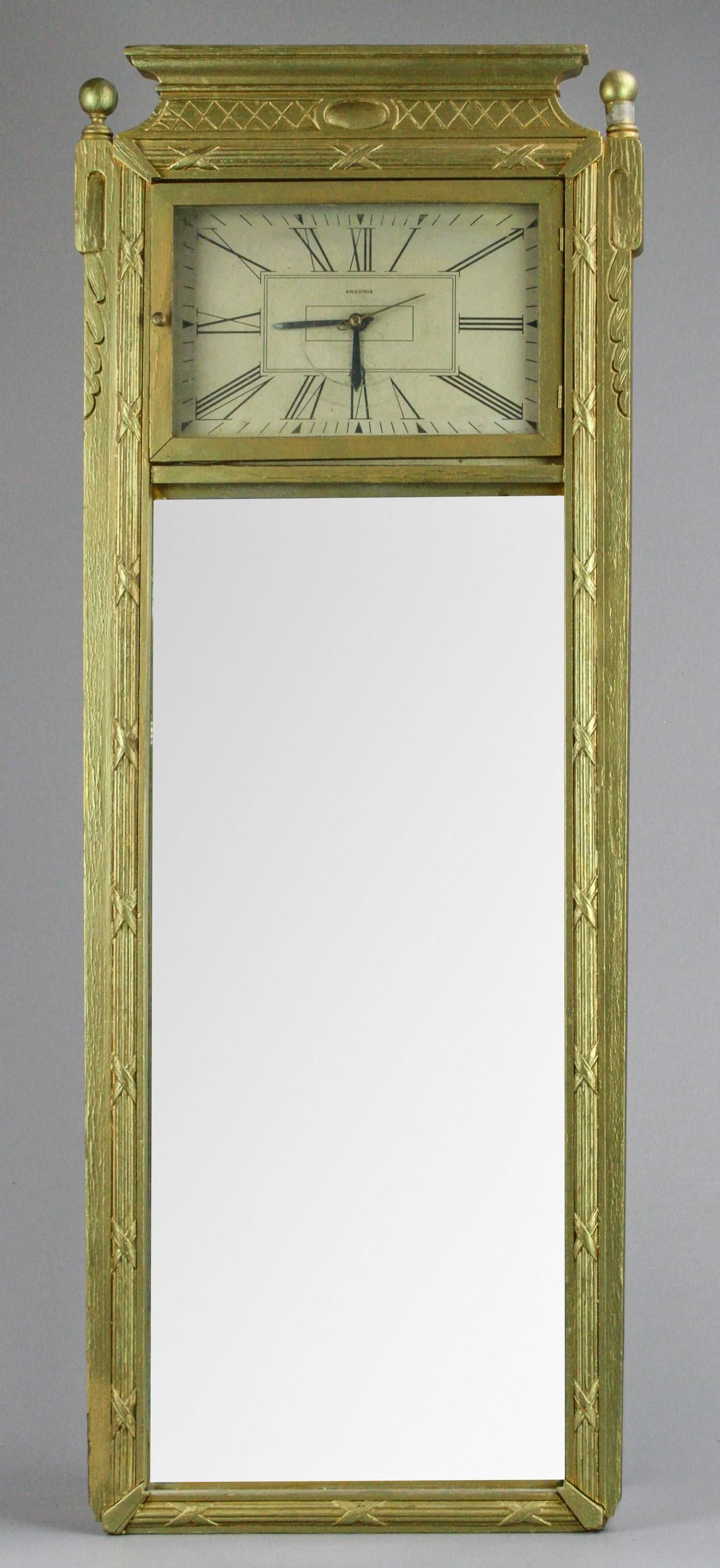 Ansonia Waltham Art Deco Wall Clock with Mirror