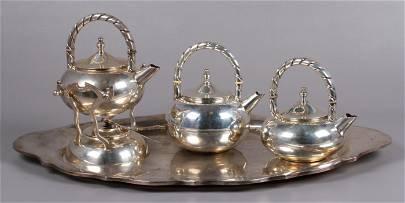 (4) Pcs Louvre Mexico Sterling Silver Tea Service
