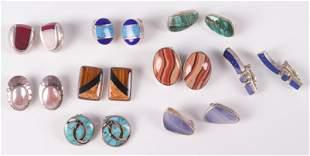 (9) Pc Lot of Gemstone Clip Earrings Sterling