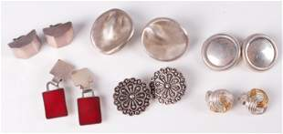 (6) Pc Lot of Large Statement Silver Earrings
