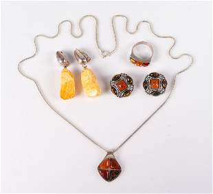 (4) Sterling Silver Amber Jewelry Group