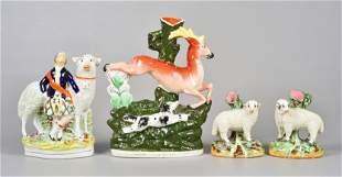 (4) Staffordshire Pottery Animal Figures