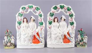 (2) Pair of Staffordshire Pottery Figures
