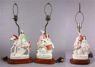 (3) Staffordshire Pottery Figural Table Lamps