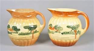 (2) Early Roseville Pottery Landscape Pitchers