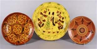 (3) Redware Round Platters
