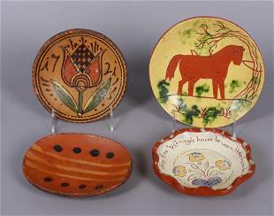(4) Small Redware Dishes