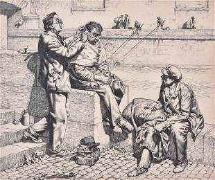 """Stanley Anderson Etching """"The Barber"""""""