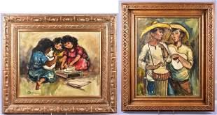 (2) 1970's Paintings of Children