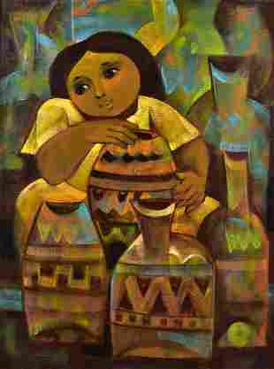 """Roger San Miguel Painting """"Pottery Vendor"""""""
