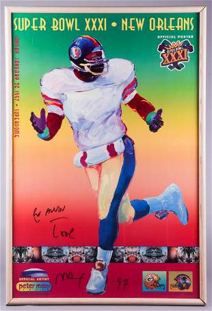Super Bowl XXXI Peter Max Signed Poster