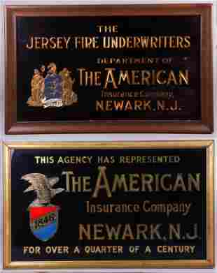 (2) Reverse Gilt Painted Signs