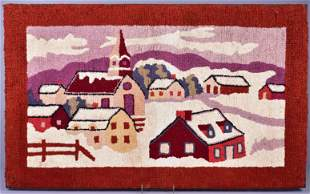 Rug Hooked Snowy Town Scene
