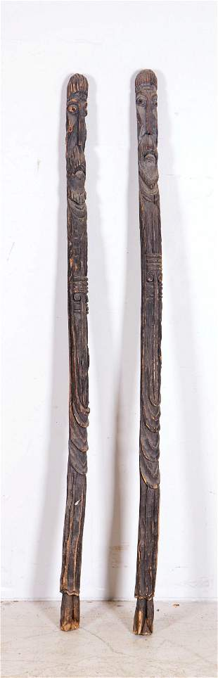 Pair of African Carved Wood Staffs