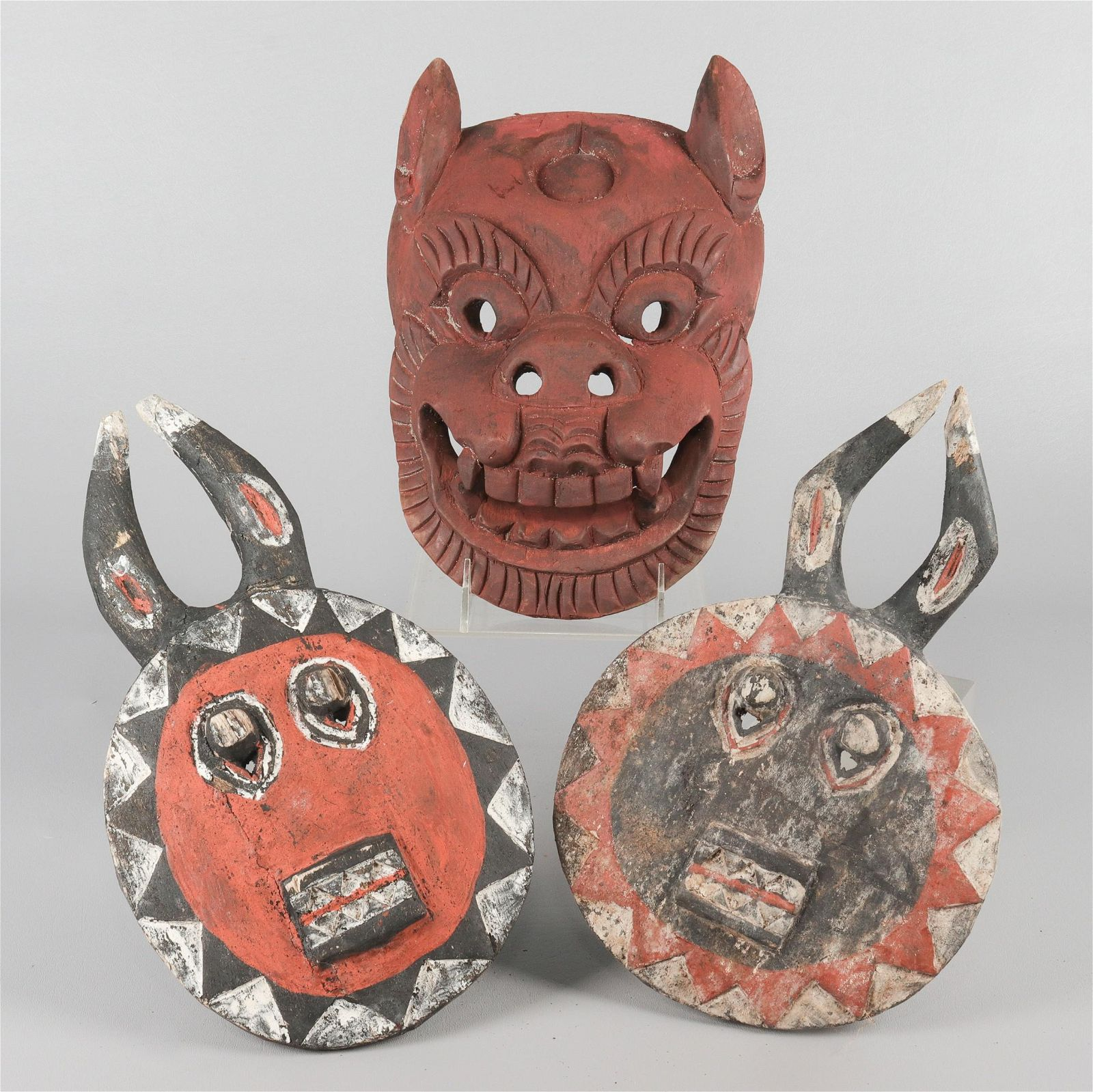 (3) African Carved & Painted Wood Masks