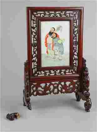 Chinese Painted Porcelain Tile Table Screen