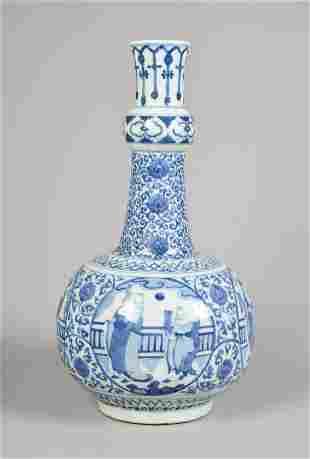 Chinese Blue & White Porcelain Bottle Vase