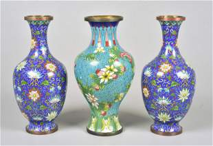 (3) Chinese Cloisonne Vases