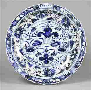 Ming Style Chinese Blue & White Porcelain Charger