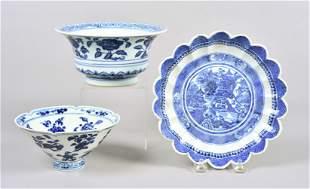 (3) Pcs Chinese Blue & White Porcelain