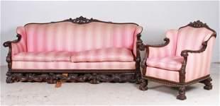 (2) Pc Carved walnut Italian style sofa and armchair